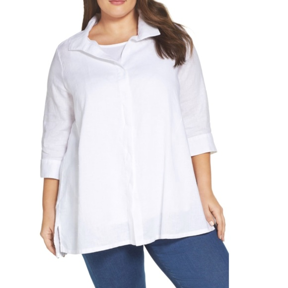 76934523102263 Foxcroft White Linen Button Down Tunic Shirt 20W